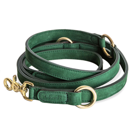 Cloud7-Nubuck-Leather-Dog-Lead-Green-450